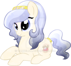 Size: 600x554   Tagged: safe, artist:tambelon, oc, oc only, oc:opalescent pearl, crystal pony, pony, female, jewelry, mare, solo, watermark