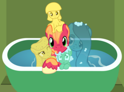 Size: 2862x2123 | Tagged: safe, artist:badumsquish, derpibooru exclusive, big macintosh, oc, oc:warm waters, oc:zesty suds, earth pony, goo pony, object pony, original species, pony, soap pony, sponge pony, wash cloth pony, water pony, bath, bathtub, bedroom eyes, big jackintosh, big macintosh gets all the mares, bubble, cute, forced bathing, grin, looking at you, macabetes, male, nervous, one eye closed, paint on fur, ponified, smiling, soap, sponge, squishy cheeks, straight, wash cloth, water, wink