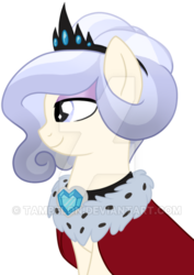 Size: 400x566   Tagged: safe, artist:tambelon, oc, oc only, oc:opalescent pearl, crystal pony, pony, cape, clothes, crystal heart, female, jewelry, mare, solo, tiara, watermark