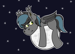 Size: 2000x1455 | Tagged: safe, artist:koonzypony, oc, oc only, oc:notde, bat pony, pony, cute, ear piercing, moon, piercing, solo, tangible heavenly object