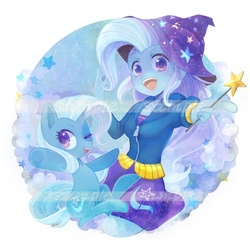 Size: 900x900   Tagged: safe, artist:sibashen, trixie, pony, equestria girls, clothes, commission, cute, diatrixes, duo, hat, human ponidox, looking at you, one eye closed, self ponidox, smiling, trixie's hat, wand, wink
