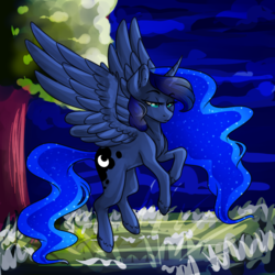 Size: 894x894 | Tagged: alicorn, artist:micky-ann, artist:twinkepaint, flying, night, pony, princess luna, safe, solo, tree, unshorn fetlocks