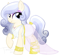 Size: 800x739   Tagged: safe, artist:tambelon, oc, oc only, oc:opalescent pearl, crystal pony, pony, clothes, dress, female, jewelry, mare, solo