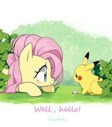 Size: 900x1020 | Tagged: safe, artist:ichigochichi, fluttershy, pegasus, pikachu, pony, crossover, cute, duo, eye, eye contact, female, happy, heart eyes, looking at each other, mare, pokémon, profile, prone, shyabetes, smiling, wingding eyes