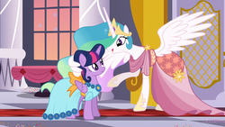 Size: 1920x1080   Tagged: safe, screencap, princess celestia, twilight sparkle, alicorn, pony, make new friends but keep discord, alternate hairstyle, beautiful, canterlot castle, clothes, confused, crown, dress, duo, ethereal mane, female, flowing mane, folded wings, frown, gala, gala dress, hair bun, having fun, hoof shoes, hug, jewelry, looking at each other, mare, multicolored mane, necklace, raised hoof, regalia, sillestia, silly, smiling, spread wings, talking, twilight sparkle (alicorn), wing hands, winghug
