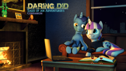 Size: 3840x2160 | Tagged: safe, artist:seriff-pilcrow, night light, twilight velvet, series:daring did tales of an adventurer's companion, 3d, book, computer, couch, female, fireplace, glass, high res, laptop computer, male, nightvelvet, prone, sapphire statue, shipping, straight, wine glass