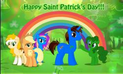 Size: 2656x1602 | Tagged: safe, artist:andoanimalia, applejack, pinkie pie, oc, oc:andoanimalia, earth pony, pony, unicorn, female, forest, green, male, mare, rainbow, recolor, saint patrick's day, socks (coat marking), stallion