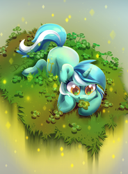 Size: 1475x2005   Tagged: safe, artist:dawnfire, lyra heartstrings, pony, unicorn, clover, cute, female, four leaf clover, grass, lyrabetes, prone, saint patrick's day, smiling, solo