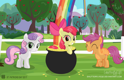 Size: 3025x1966 | Tagged: safe, artist:shutterflyeqd, apple bloom, scootaloo, sweetie belle, cute, cutie mark crusaders, flapping, happy, looking at you, pot of gold, rainbow, saint patrick's day, sweet apple acres
