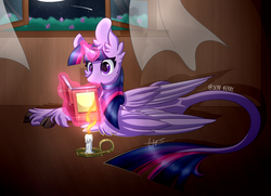 Size: 2000x1450 | Tagged: alicorn, artist:derp-berry, book, candle, classical unicorn, cloven hooves, female, glowing horn, leonine tail, magic, mare, moon, night, pony, reading, safe, solo, telekinesis, twilight sparkle, twilight sparkle (alicorn), unshorn fetlocks
