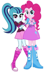 Size: 3760x6116 | Tagged: safe, artist:bubblestormx, pinkie pie, sonata dusk, equestria girls, absurd resolution, balloon, boots, bracelet, clothes, cute, hands on arms, high heel boots, jewelry, looking at you, peekaboo, ponytail, simple background, skirt, sonatabetes, spikes, transparent background, vector