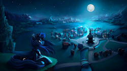 Size: 5120x2880 | Tagged: absurd res, alicorn, artist:l1nkoln, cliff, commission, featured image, female, folded wings, forest, full moon, looking away, looking up, mare, moon, moonlight, mountain, night, pony, ponyville, princess luna, prone, river, safe, scenery, scenery porn, sky, solo, stars