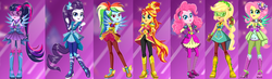 Size: 1832x535 | Tagged: safe, artist:unicornsmile, applejack, fluttershy, pinkie pie, rainbow dash, rarity, sci-twi, sunset shimmer, twilight sparkle, equestria girls, legend of everfree, boots, clothes, crystal guardian, crystal wings, glasses, gloves, high heel boots, humane five, humane seven, humane six, looking at you, pants, ponied up, ponytail, shoes, smiling, sneakers, sparkles, starsue, super ponied up, visor, wings