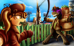 Size: 1500x934 | Tagged: safe, artist:jamescorck, king sombra, oc, oc:coffee talk, cake, clothes, commission, dessert, fallout, fallout 4, fence, food, major mcdonough, open mouth, piper wright, pointing, raised hoof, scenery