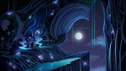 Size: 5000x2813   Tagged: safe, artist:duskie-06, princess luna, alicorn, pony, absurd resolution, cavern, cloud, crown, crystal, duality, female, full moon, gem, jewelry, moon, night, night sky, regalia, scenery, scenery porn, signature, solo, stars, when you see it