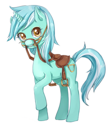 Size: 458x534 | Tagged: artist:shiwizilla, bit, bridle, cropped, cute, lyra heartstrings, reins, saddle, safe, simple background, solo, stirrups, tack, white background
