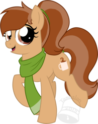 Size: 592x750 | Tagged: safe, artist:tambelon, oc, oc only, oc:coffee talk, earth pony, pony, clothes, female, mare, scarf, solo, watermark
