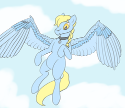 Size: 1500x1300 | Tagged: artist:ononim, belly, birthday gift, braid, charm, cloud, collar, flying, looking at you, male, oc, oc only, oc:windswept skies, pegasus, pony, safe, sky, solo, stallion, wings