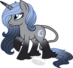 Size: 600x556 | Tagged: safe, artist:tambelon, oc, oc only, oc:crescent hue, classical unicorn, pony, unicorn, cloven hooves, female, leonine tail, mare, solo, unshorn fetlocks, watermark