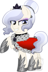 Size: 606x900   Tagged: safe, artist:tambelon, oc, oc only, oc:opalescent pearl, crystal pony, pony, alternate timeline, cape, clothes, corrupted, female, jewelry, mare, solo, tiara, watermark