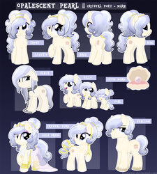 Size: 1500x1664   Tagged: safe, artist:tambelon, oc, oc only, oc:opalescent pearl, crystal pony, pony, chains, clothes, collar, dress, female, filly, jewelry, mare, reference sheet, rule 63, solo
