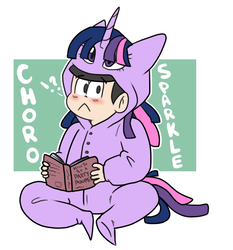 Size: 855x918 | Tagged: safe, artist:regkitty, twilight sparkle, human, abstract background, choromatsu, clothes, cosplay, costume, crossover, exclamation point, interrobang, kigurumi, question mark, reading, solo