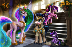 Size: 2000x1285   Tagged: safe, artist:harwick, princess cadance, princess celestia, shining armor, spike, twilight sparkle, alicorn, dragon, pony, unicorn, :t, armor, baby, baby spike, backpack, blushing, book, bouquet, bow, butt, castle, crepuscular rays, crown, cute, cutelestia, embarrassed, female, filly, filly twilight sparkle, flower, frown, group, hair bow, happy, helmet, hnnng, jewelry, lidded eyes, looking back, magnet, male, mare, momlestia, nom, open mouth, paper, peytral, plot, puffy cheeks, raised hoof, reading, regalia, royal guard, saddle bag, scroll, scrunchy face, shining adorable, sitting, smiling, spikabetes, stairs, stallion, sunflower, sunlight, teen princess cadance, twiabetes, underhoof, walking, younger