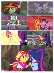 Size: 708x944 | Tagged: safe, screencap, applejack, fluttershy, indigo zap, lemon zest, neon lights, pinkie pie, rainbow dash, rarity, rising star, sci-twi, spike, sugarcoat, sunny flare, sunset shimmer, twilight sparkle, alicorn, dog, equestria girls, equestria girls (movie), friendship games, legend of everfree, my past is not today, boots, camp everfree outfits, canterlot high, cowboy boots, crystal prep shadowbolts, daydream shimmer, fall formal outfits, hand, high heel boots, holding hands, implied lesbian, implied scitwishimmer, implied shipping, implied sunsetsparkle, mane seven, mane six, microphone, midnight sparkle, ponied up, ponytail, sparkles, spike the dog, sun, twilight sparkle (alicorn), welcome to the show