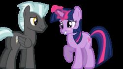 Size: 1366x768 | Tagged: safe, artist:yourfavoritesenpai, thunderlane, twilight sparkle, pegasus, pony, unicorn, black background, female, looking at each other, male, shipping, simple background, straight, twilane