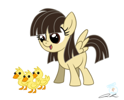 Size: 1261x1023 | Tagged: safe, artist:iheartjapan789, wild fire, duck, pegasus, pony, blank flank, duckling, female, filly, looking down, open mouth, ponysona, signature, simple background, smiling, standing, that pony sure does love ducks, transparent background