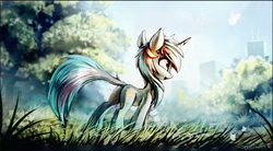 Size: 934x517 | Tagged: safe, artist:ramiras, lyra heartstrings, pony, unicorn, cute, dock, female, grass, looking at something, looking away, looking up, mare, meadow, open mouth, plot, scenery, smiling, solo
