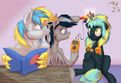 Size: 1249x861 | Tagged: safe, artist:frist44, oc, oc only, oc:cirrus sky, oc:daturea eventide, oc:electro current, bat pony, hippogriff, pony, unicorn, cirrent, clamp meter, cute, digital multimeter, electricity, experiment, fluffy, food, for science, hoof hold, measuring, musical instrument, potato, reading, superconductor