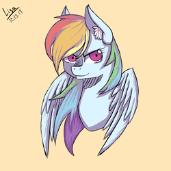 Size: 2000x2000 | Tagged: safe, artist:lisachan02, rainbow dash, pony, high res, simple background, solo