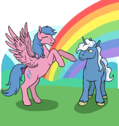 Size: 911x962 | Tagged: artist:quoting_mungo, duo, eyes closed, firefly, g1, pegasus, pokey pierce, pony, rainbow, rearing, safe, simple background, unicorn