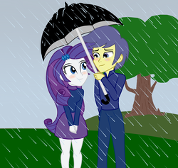 Size: 1900x1800   Tagged: dead source, safe, artist:mashoart, comet tail, rarity, equestria girls, blushing, clothes, cometity, equestria girls-ified, eye contact, female, lidded eyes, looking at each other, male, rain, shipping, skirt, smiling, straight, sweater, tree, umbrella