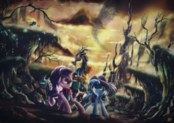 Size: 2500x1768 | Tagged: safe, artist:ruhisu, discord, starlight glimmer, thorax, trixie, changeling, draconequus, pony, unicorn, to where and back again, badass, cape, changeling hive, clothes, commission, epic, group, hat, metal as fuck, reformed four, saddle bag, serious, serious face, tree, trixie's cape, trixie's hat