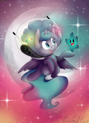 Size: 5349x7417   Tagged: safe, artist:cutepencilcase, princess luna, alicorn, luma, pony, absurd resolution, astronaut, cheek fluff, chest fluff, chibi, cute, duo, ear fluff, female, filly, fluffy, helmet, looking at each other, lunabetes, open mouth, signature, smiling, space, space helmet, stars, super mario bros., super mario galaxy, wing fluff