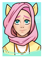 Size: 379x511 | Tagged: safe, artist:alvrexadpot, fluttershy, human, bust, heart eyes, hijab, humanized, islamashy, jewelry, necklace, simple background, solo, wingding eyes