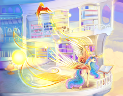 Size: 2100x1650 | Tagged: safe, artist:viwrastupr, philomena, princess celestia, raven, alicorn, phoenix, pony, balcony, beautiful, book, bright, cloud, crown, curved horn, cutie mark, epic wings, ethereal mane, female, flowing mane, flying, glowing horn, jewelry, large wings, lidded eyes, magic, majestic, mare, master and pet, multicolored mane, multicolored tail, pet, powerful, reading, regalia, scenery, smiling, sparkles, telekinesis, tiara