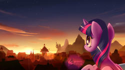 Size: 3200x1800 | Tagged: safe, artist:nekokevin, twilight sparkle, alicorn, pony, canterlot, canterlot castle, cloud, digital art, female, lens flare, looking at something, mare, ponyville, rear view, scenery, sky, solo, stars, sunset, town hall, twilight (astronomy), twilight sparkle (alicorn), watermark