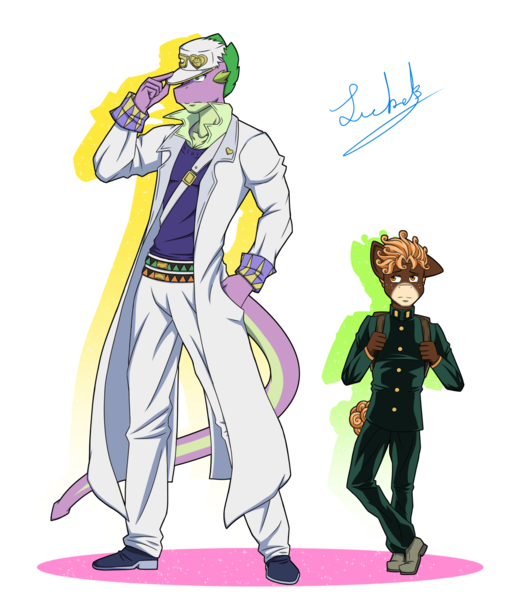 Size: 1280x1457 | Tagged: anthro, artist:comeththehour, diamond is unbreakable, jojo's bizarre adventure, jotaro kujo, koichi hirose, oc, oc:sweet treat, safe, spike