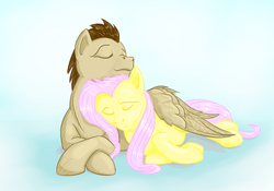 Size: 1250x875   Tagged: safe, artist:testostepone, crescent pony, fluttershy, mane moon, pegasus, pony, crescentshy, female, male, shipping, snuggling, straight