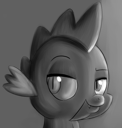 Size: 2009x2108 | Tagged: artist:itsthinking, bust, dragon, gradient background, gray background, grayscale, lidded eyes, monochrome, portrait, safe, simple background, smiling, smug, solo, spike