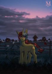 Size: 838x1200 | Tagged: safe, artist:margony, oc, oc only, pony, unicorn, art trade, female, fence, grass field, looking at you, mare, ponyville, scenery, smiling, solo