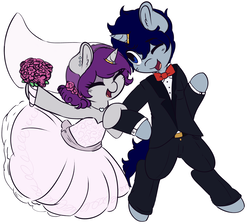 Size: 1280x1148 | Tagged: artist:wickedsilly, bipedal, bouquet, bowtie, clothes, couple, cute, dress, eyes closed, female, horn ring, husband and wife, jewelry, male, mare, married couple, necklace, oc, ocbetes, oc only, oc:sleepy head, oc:wicked silly, oc x oc, one eye closed, open mouth, pony, ponysona, safe, shipping, simple background, smiling, stallion, straight, suit, unicorn, wedding dress, white background, wickedsleepy