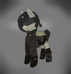 Size: 2005x2113 | Tagged: safe, artist:syntiset, oc, oc only, oc:schurl miller, bat pony, pony, 9s, bandage, bat wings, clothes, crossover, dress, leotard, male, nier, nier: automata, pants, ponified, simple background, stallion