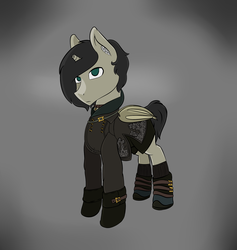 Size: 2005x2113 | Tagged: safe, artist:syntiset, oc, oc only, oc:schurl miller, bat pony, pony, 9s, bat wings, clothes, crossover, dress, leotard, male, nier, nier: automata, pants, ponified, simple background, stallion