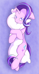 Size: 1521x2861 | Tagged: safe, artist:dusthiel, starlight glimmer, pony, unicorn, colored pupils, female, floppy ears, hug, lidded eyes, looking at you, mare, pillow, pillow hug, solo, starlight day