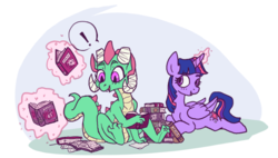 Size: 903x513 | Tagged: safe, artist:purple-blep, twilight sparkle, oc, oc:tonic, alicorn, dragon, pony, /mlp/, book, bookhorse, twilight sparkle (alicorn)
