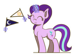 Size: 1280x960 | Tagged: artist:flutterluv, banner, eyes closed, flag, magic, pony, safe, simple background, smiling, solo, starlight day, starlight glimmer, starlight glimmer day, telekinesis, unicorn, white background